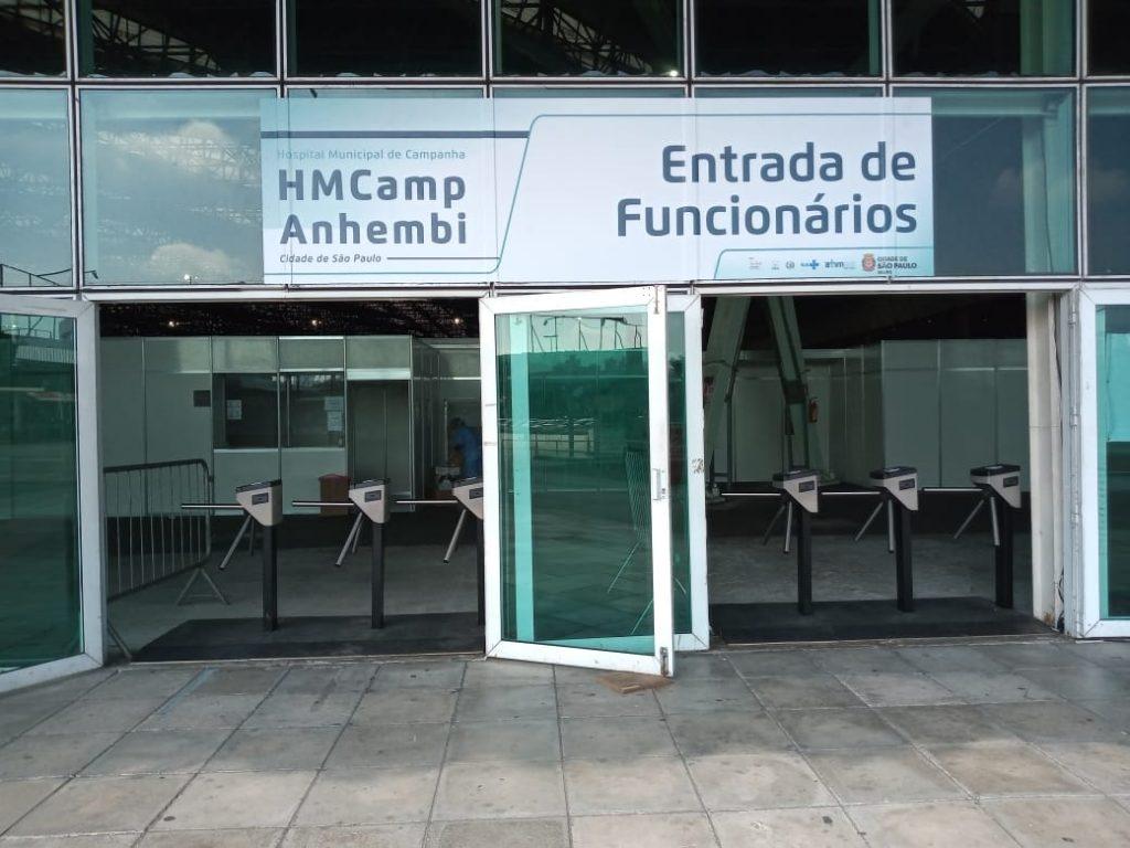 DIMEP doa catracas com tecnologia de aproximação que estão sendo usadas no Hospital de Campanha do Anhembi, SP